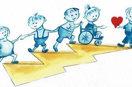 Ein gezeichnetes Bild mit kleinen Kindern. Eines sitzt im Rollstuhl.
