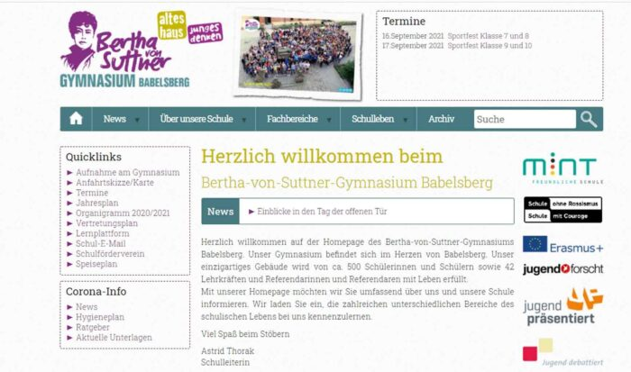 Die Ansicht der Startseite der Homepage des Bertha von Suttner-Gymnasiums.