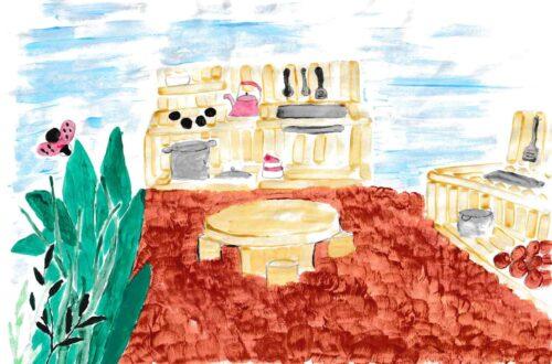Ein selbstgezeichnetes Plakat, auf der eine Küche und links am Bildrand eine Pflanze und ein Schmetterling zu sehen sind.