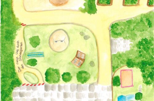 """Eine Zeichnung einer Gartenfläche mit Wegen und dem Schriftzug: """"Der neue Weg durch den Sinnesgarten."""""""