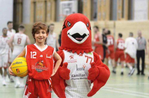 Ein kleiner Junge mit Baskettball und Trikot. Daneben steht eine als Maskottchen verkleidete Person.
