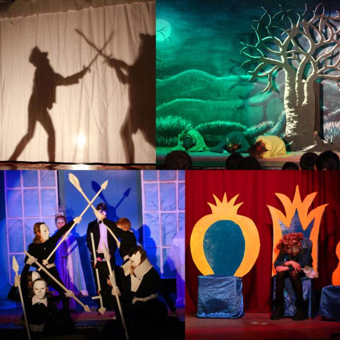 Eine Collage aus vier Bildern, auf denen Theater spielende Kinder zu sehen sind.